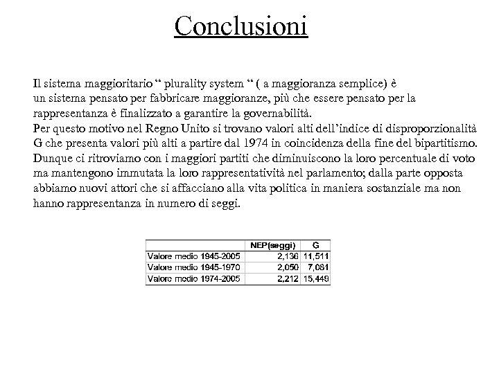 """Conclusioni Il sistema maggioritario """" plurality system """" ( a maggioranza semplice) è un"""