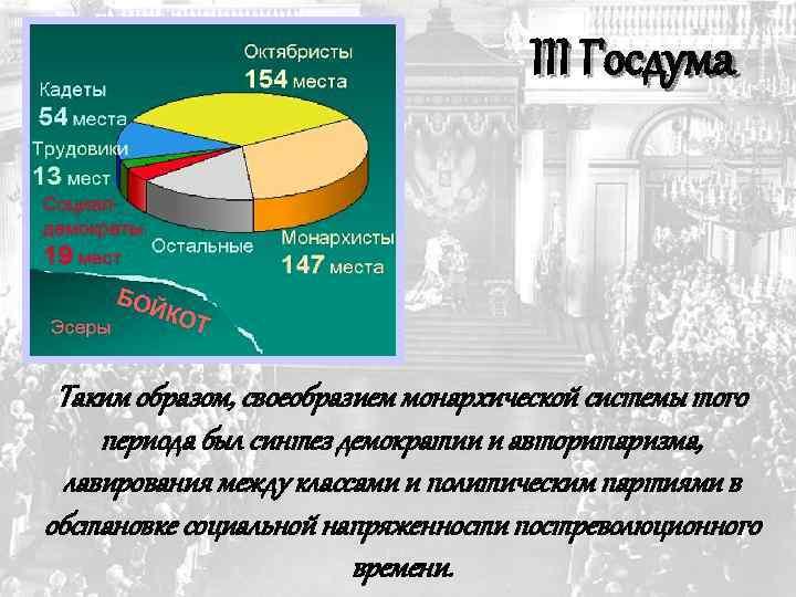 III Госдума Таким образом, своеобразием монархической системы того периода был синтез демократии и авторитаризма,