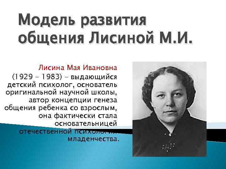 Модель развития общения Лисиной М. И. Лисина Мая Ивановна (1929 - 1983) - выдающийся