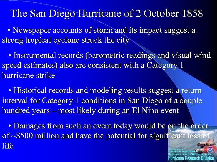 The San Diego Hurricane of 2 October 1858 • Newspaper accounts of storm and