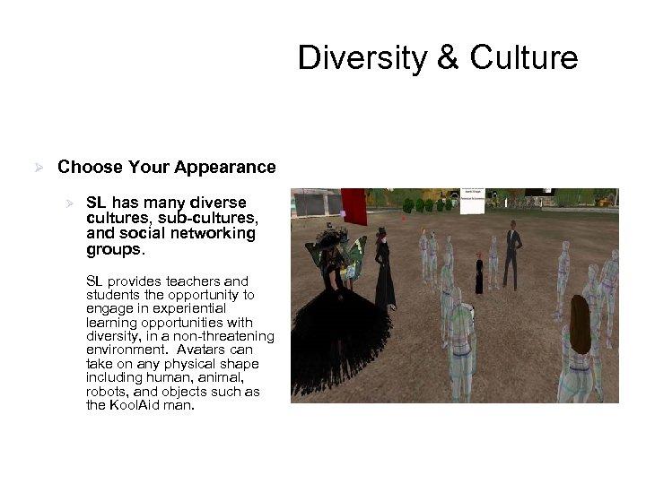 Diversity & Culture Ø Choose Your Appearance Ø SL has many diverse cultures, sub-cultures,