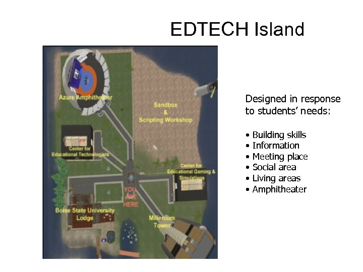 EDTECH Island Designed in response to students' needs: • • • Building skills Information