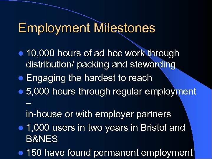 Employment Milestones l 10, 000 hours of ad hoc work through distribution/ packing and