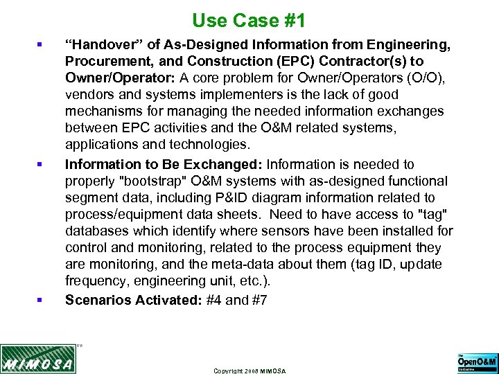 """Use Case #1 § § § """"Handover"""" of As-Designed Information from Engineering, Procurement, and"""