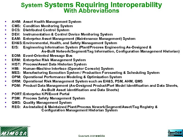 Systems Requiring Interoperability With Abbreviations § § § § § AHM: Asset Health Management