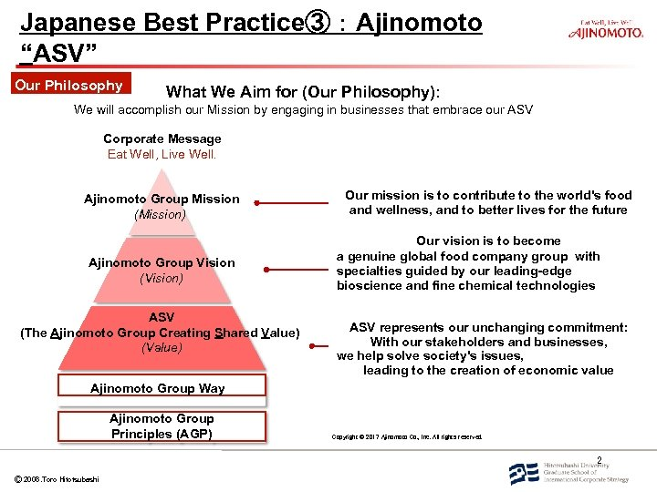 """Japanese Best Practice③:Ajinomoto """"ASV"""" Our Philosophy What We Aim for (Our Philosophy): We will"""