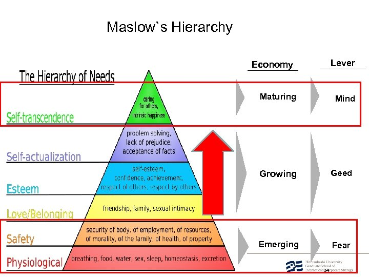 Ⓒ 2008. Toro Hitotsubashi Maslow`s Hierarchy Lever Economy Maturing Mind Growing Geed Emerging