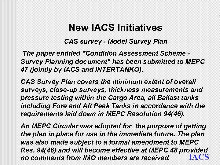 New IACS Initiatives CAS survey - Model Survey Plan The paper entitled