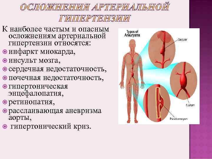 К наиболее частым и опасным осложнениям артериальной гипертензии относятся: инфаркт миокарда, инсульт мозга, сердечная