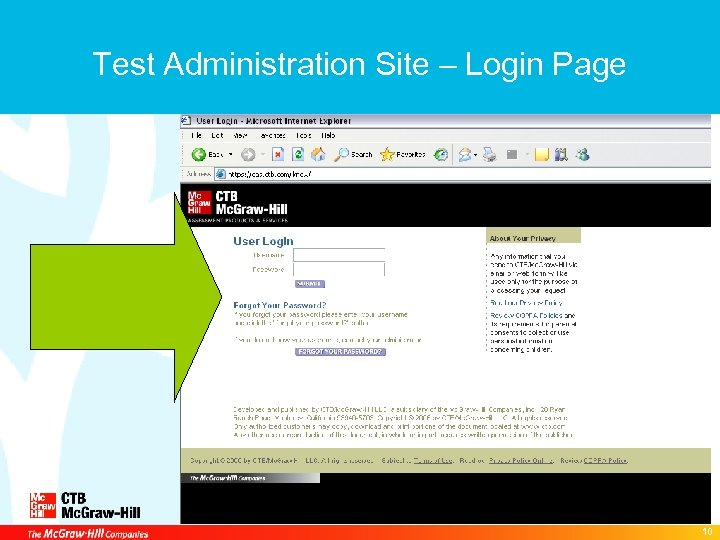 Test Administration Site – Login Page 10