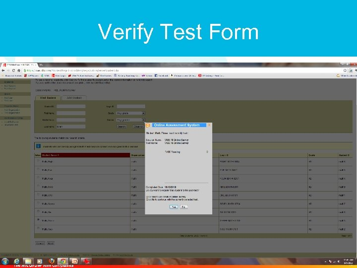 Verify Test Form 15