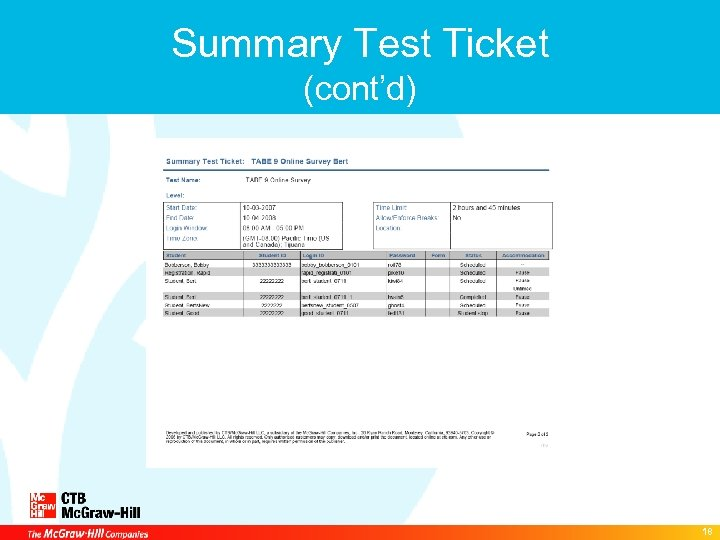 Summary Test Ticket (cont'd) 18