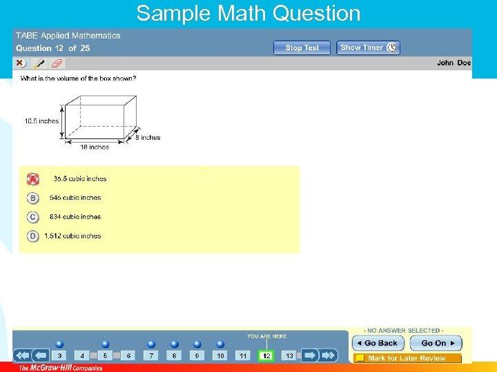 Sample Math Question