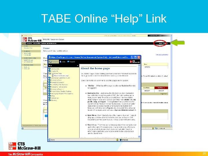 "TABE Online ""Help"" Link 31"
