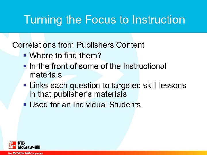 Turning the Focus to Instruction Correlations from Publishers Content § Where to find them?