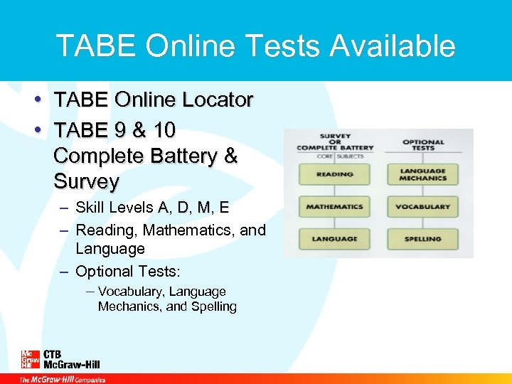 TABE Online Tests Available • TABE Online Locator TABE • TABE 9 & 10