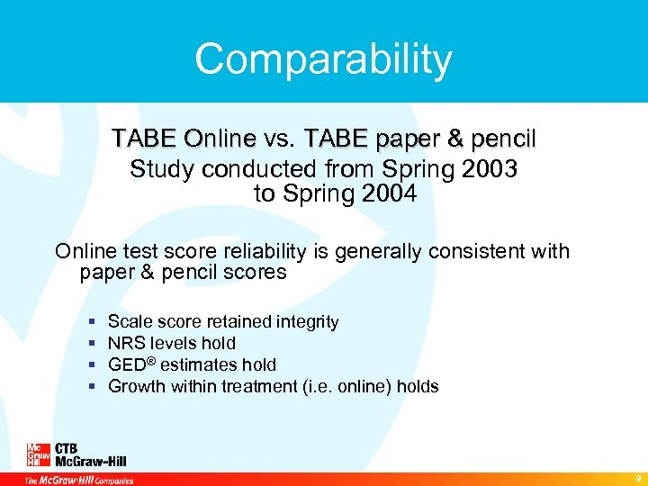 Comparability TABE Online vs. TABE paper & pencil TABE Online Study conducted from Spring