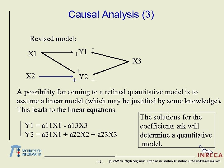 Causal Analysis (3) Revised model: X 1 X 2 + Y 1 - X