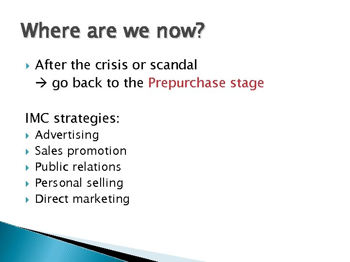 Where are we now? After the crisis or scandal go back to the Prepurchase