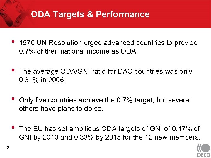 ODA Targets & Performance • • The average ODA/GNI ratio for DAC countries was