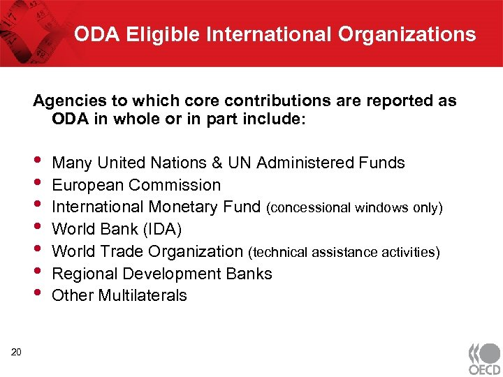 ODA Eligible International Organizations Agencies to which core contributions are reported as ODA in