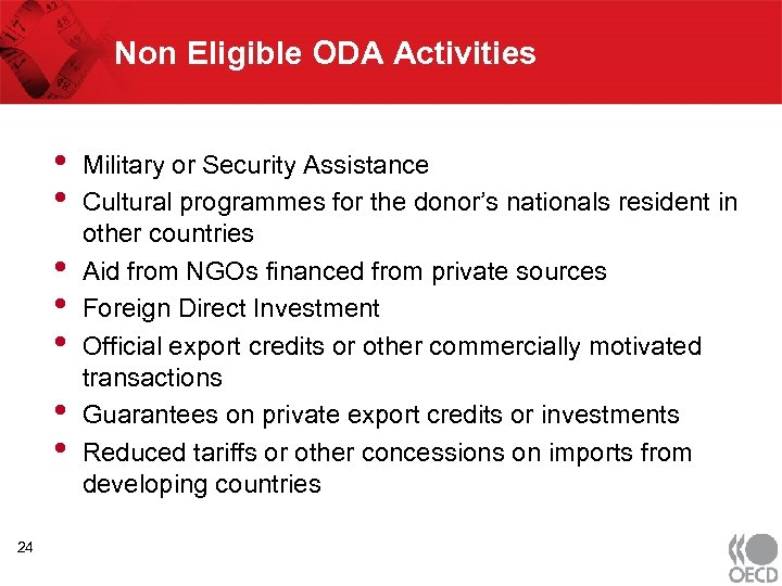 Non Eligible ODA Activities • • 24 Military or Security Assistance Cultural programmes for