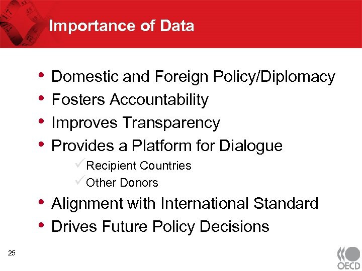 Importance of Data • • • 25 Domestic and Foreign Policy/Diplomacy Fosters Accountability Improves