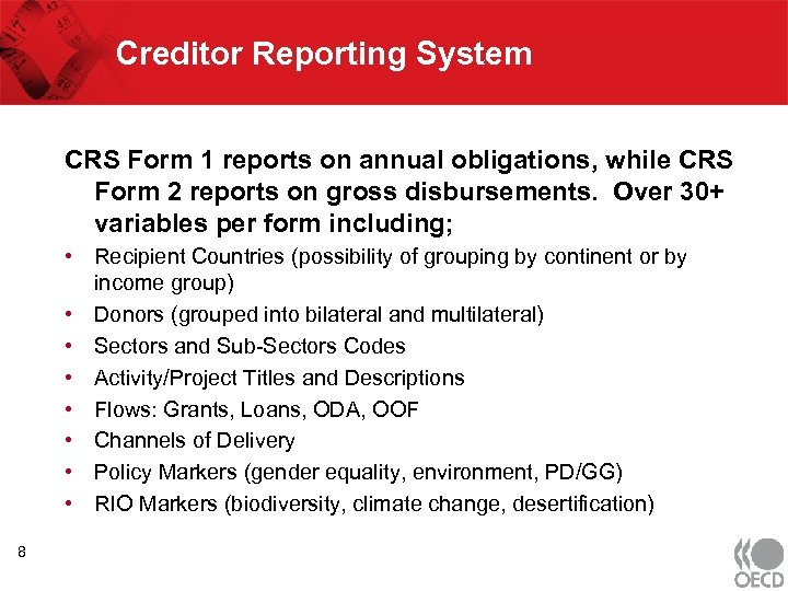 Creditor Reporting System CRS Form 1 reports on annual obligations, while CRS Form 2