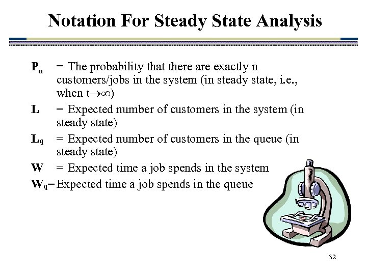 Notation For Steady State Analysis Pn = The probability that there are exactly n