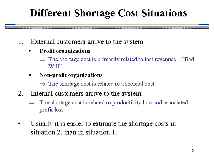 Different Shortage Cost Situations 1. External customers arrive to the system • • Profit