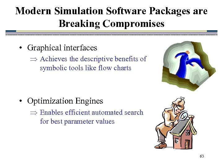 Modern Simulation Software Packages are Breaking Compromises • Graphical interfaces Achieves the descriptive benefits