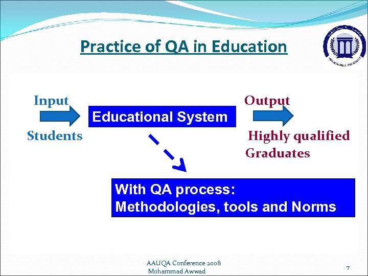 Practice of QA in Education Input Output Educational System Students Highly qualified Graduates With