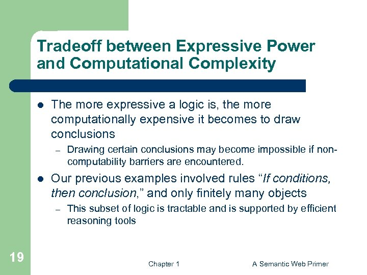 Tradeoff between Expressive Power and Computational Complexity l The more expressive a logic is,
