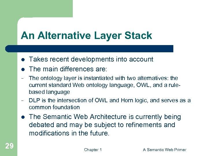 An Alternative Layer Stack l l − − l 29 Takes recent developments into
