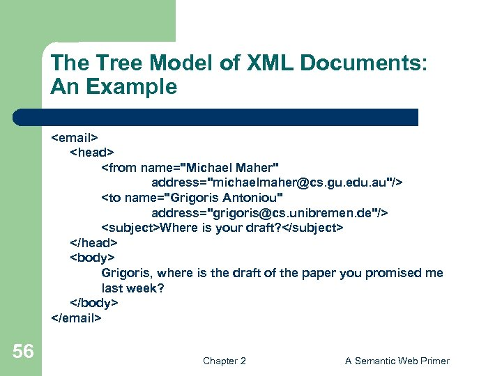 The Tree Model of XML Documents: An Example <email> <head> <from name=