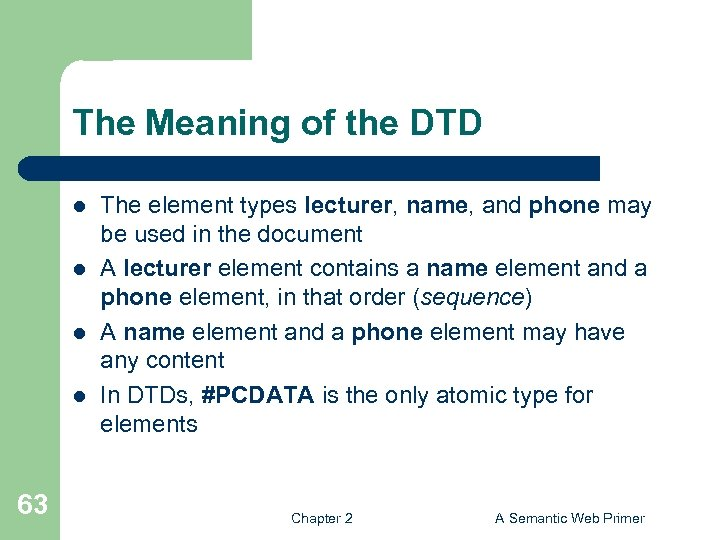 The Meaning of the DTD l l 63 The element types lecturer, name, and