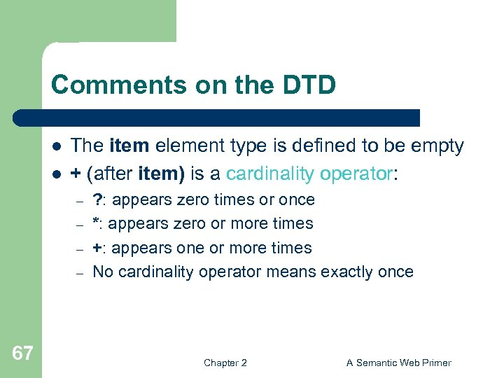Comments on the DTD l l The item element type is defined to be