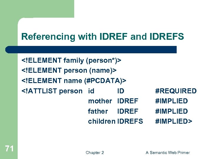 Referencing with IDREF and IDREFS <!ELEMENT family (person*)> <!ELEMENT person (name)> <!ELEMENT name (#PCDATA)>