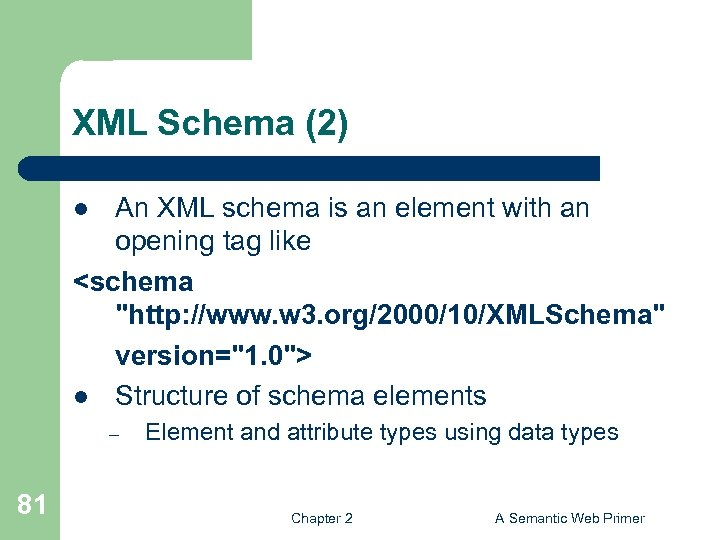 XML Schema (2) An XML schema is an element with an opening tag like