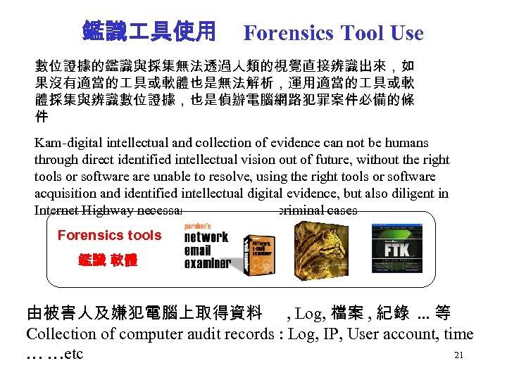 鑑識 具使用 Forensics Tool Use 數位證據的鑑識與採集無法透過人類的視覺直接辨識出來,如 果沒有適當的 具或軟體也是無法解析,運用適當的 具或軟 體採集與辨識數位證據,也是偵辦電腦網路犯罪案件必備的條 件 Kam-digital intellectual and