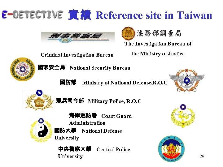 實 績 Reference site in Taiwan The Investigation Bureau of Criminal Investigation Bureau the