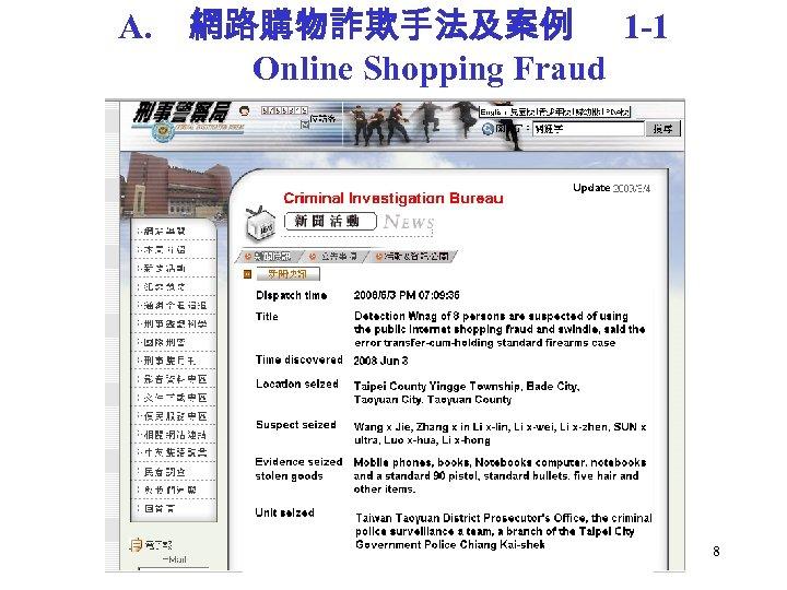 A. 網路購物詐欺手法及案例 1 -1 Online Shopping Fraud 8