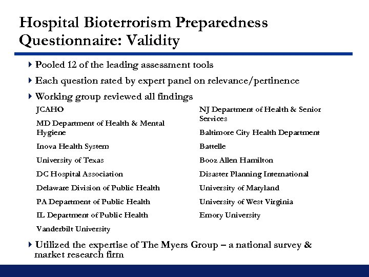 Hospital Bioterrorism Preparedness Questionnaire: Validity 4 Pooled 12 of the leading assessment tools 4
