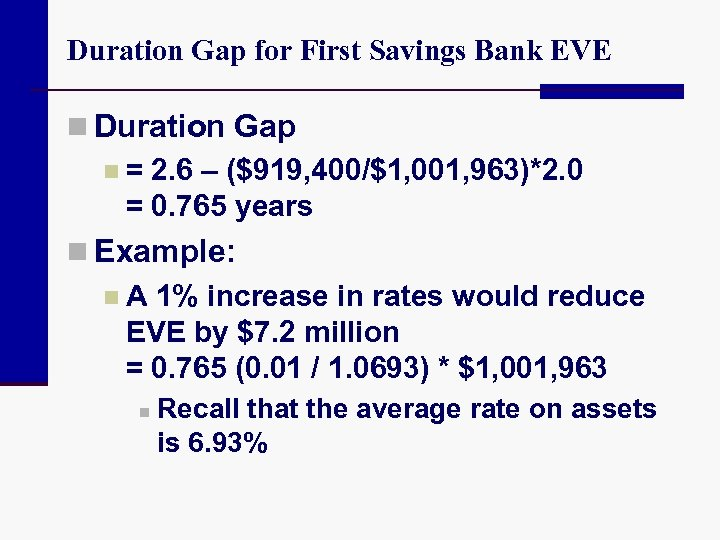 Duration Gap for First Savings Bank EVE n Duration Gap n = 2. 6