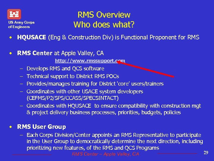 RMS Overview Who does what? US Army Corps of Engineers • HQUSACE (Eng &