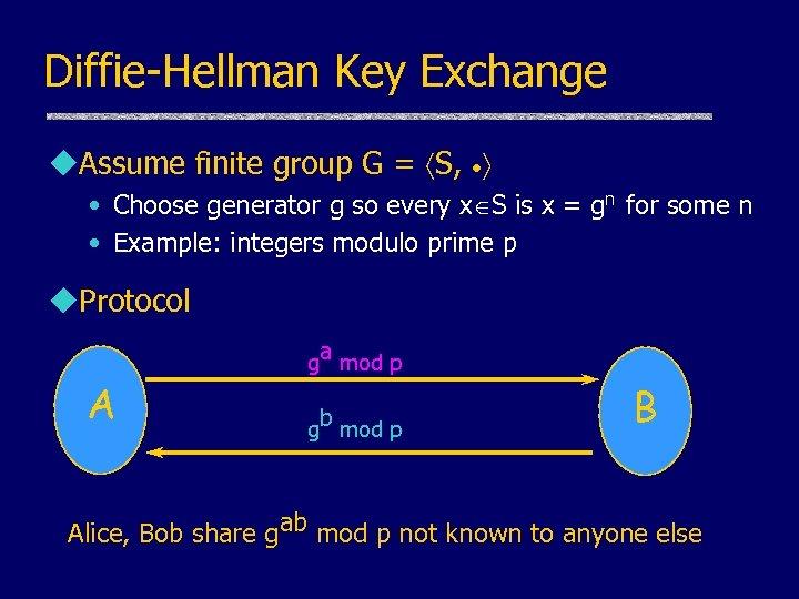 Diffie-Hellman Key Exchange u. Assume finite group G = S, • Choose generator g