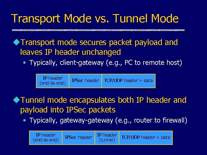 Transport Mode vs. Tunnel Mode u. Transport mode secures packet payload and leaves IP