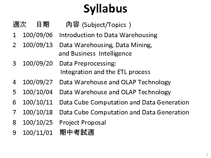 Syllabus 週次 日期 內容( Subject/Topics) 1 100/09/06 Introduction to Data Warehousing 2 100/09/13 Data