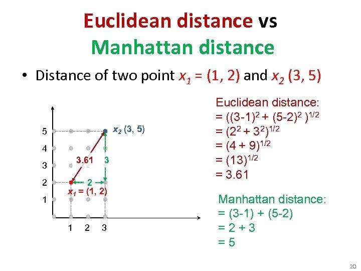 Euclidean distance vs Manhattan distance • Distance of two point x 1 = (1,