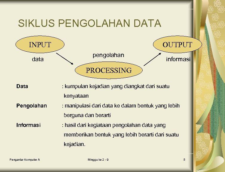 SIKLUS PENGOLAHAN DATA INPUT OUTPUT pengolahan data informasi PROCESSING Data : kumpulan kejadian yang